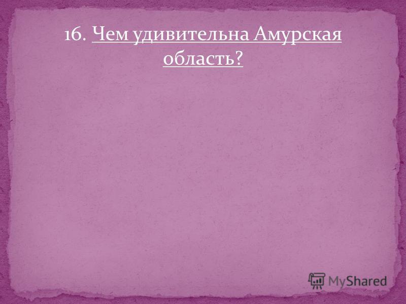 16. Чем удивительна Амурская область?