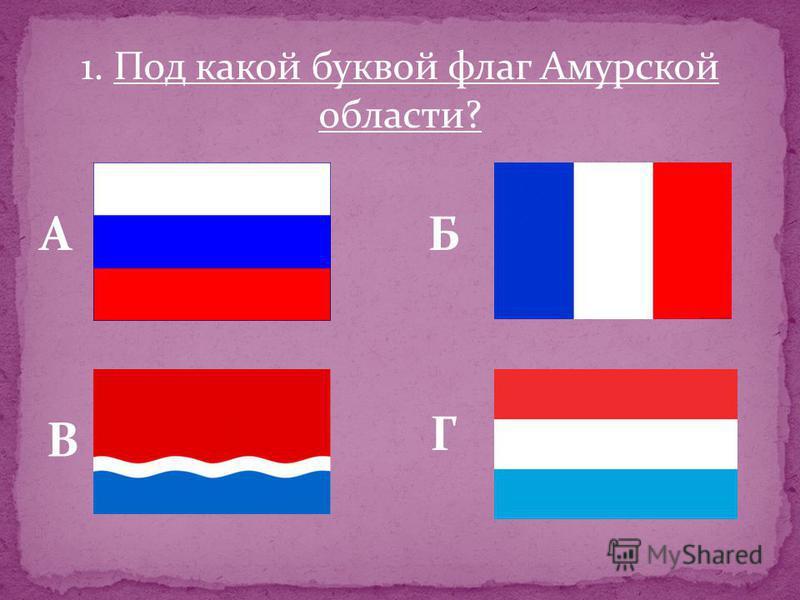 1. Под какой буквой флаг Амурской области? АБ В Г