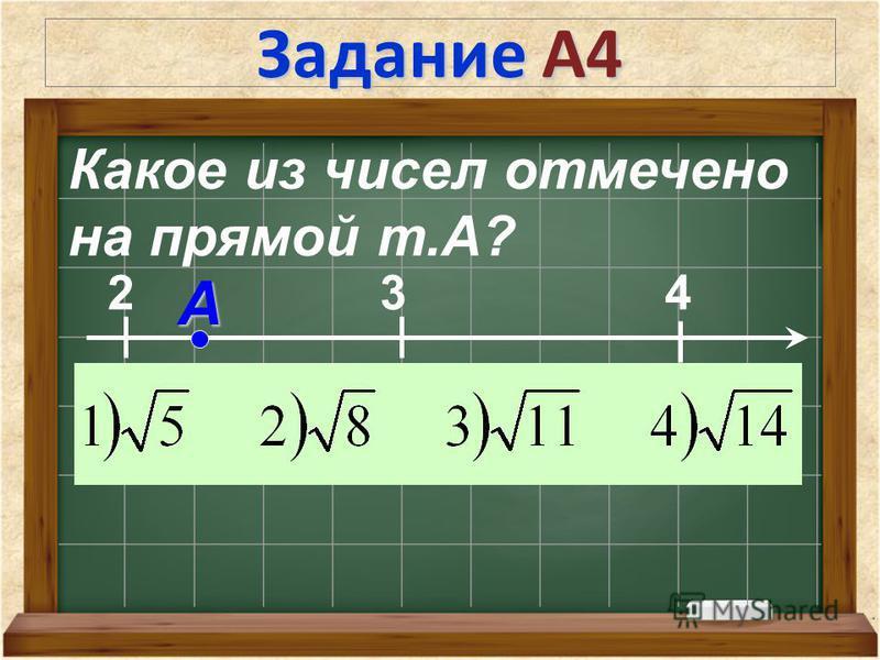 Задание А4 Какое из чисел отмечено на прямой т.А? 2 3 4 А