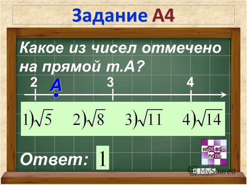 Задание А4 игровое игровое поле поле Какое из чисел отмечено на прямой т.А? Ответ: 2 3 4 А