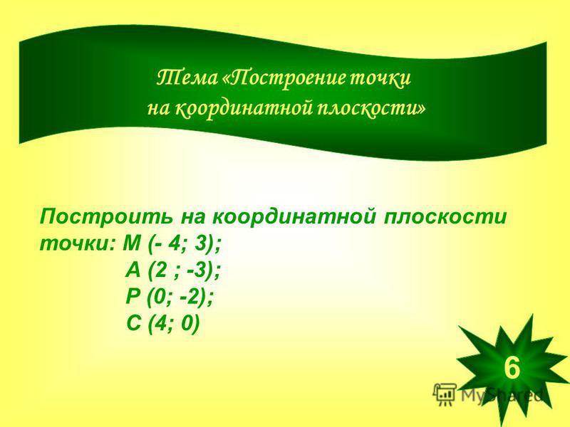 Тема «Построение точки на координатной плоскости» Построить на координатной плоскости точки: М (- 4; 3); А (2 ; -3); Р (0; -2); С (4; 0) 6