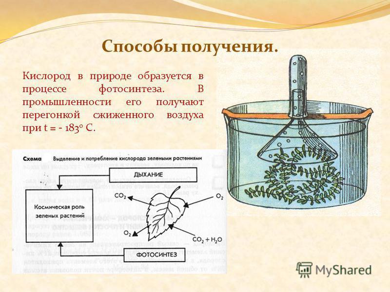 Способы получения. Кислород в природе образуется в процессе фотосинтеза. В промышленности его получают перегонкой сжиженного воздуха при t = - 183 0 С.