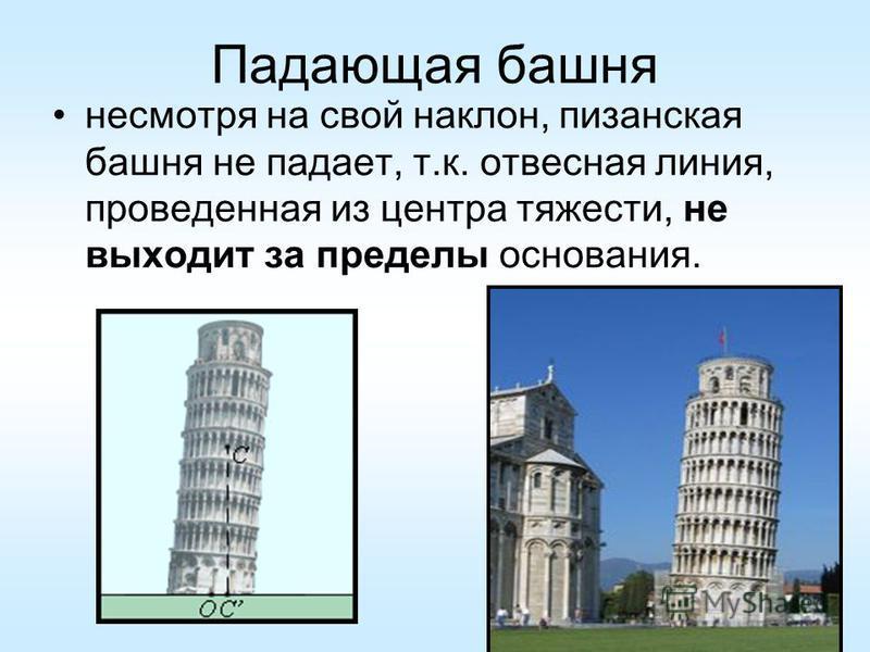 Падающая башня несмотря на свой наклон, пизанская башня не падает, т.к. отвесная линия, проведенная из центра тяжести, не выходит за пределы основания.