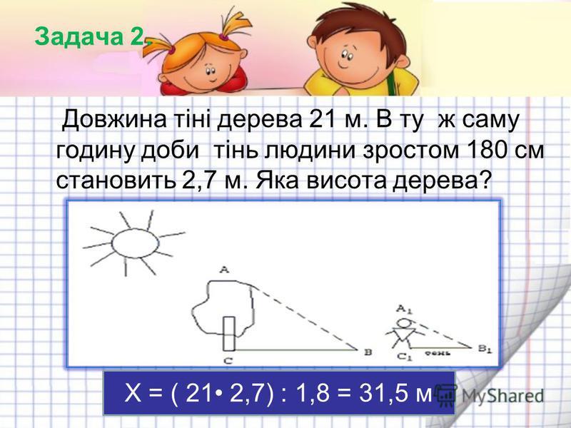 Задача 2. Довжина тіні дерева 21 м. В ту ж саму годину доби тінь людини зростом 180 см становить 2,7 м. Яка висота дерева? Х = ( 21 2,7) : 1,8 = 31,5 м