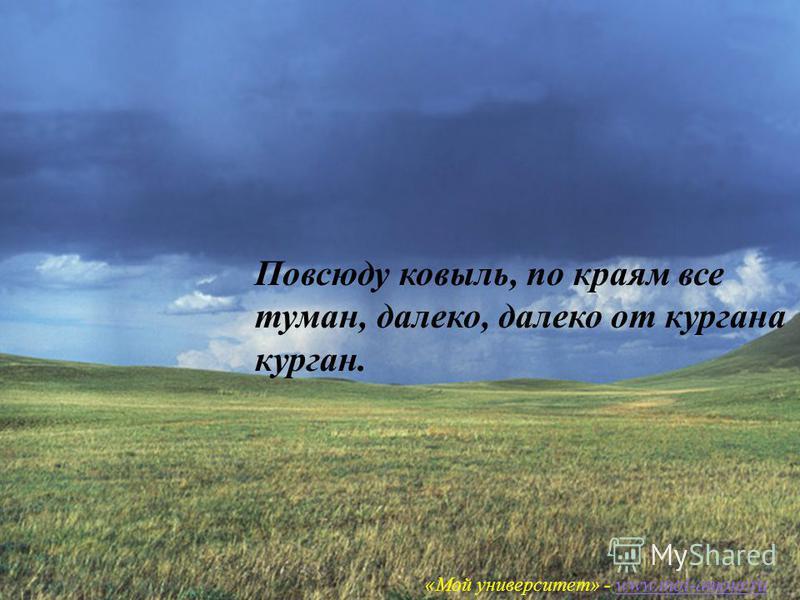 «Мой университет – www.moi-amour.ru Повсюду ковыль, по краям все туман, далеко, далеко от кургана курган. «Мой университет» - www.moi-amour.ruwww.moi-amour.ru
