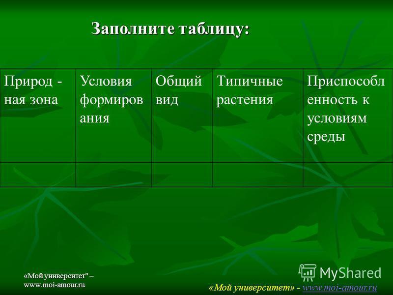 «Мой университет – www.moi-amour.ru Заполните таблицу: Природ - ная зона Условия формирования Общий вид Типичные растония Приспособл онность к условиям среды «Мой университет» - www.moi-amour.ruwww.moi-amour.ru