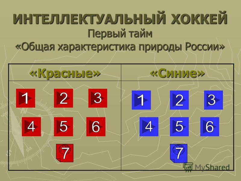 ИНТЕЛЛЕКТУАЛЬНЫЙ ХОККЕЙ Первый тайм «Общая характеристика природы России» «Красные»«Синие»