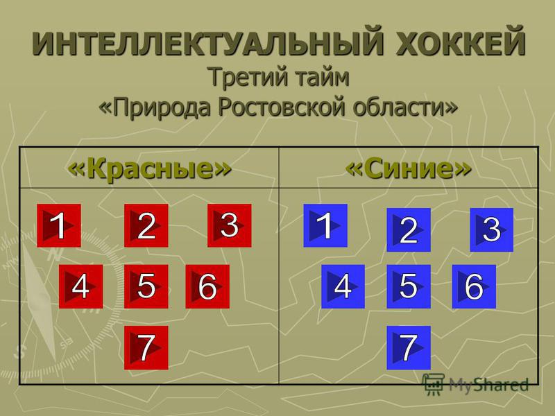 ИНТЕЛЛЕКТУАЛЬНЫЙ ХОККЕЙ Третий тайм «Природа Ростовской области» «Красные»«Синие»