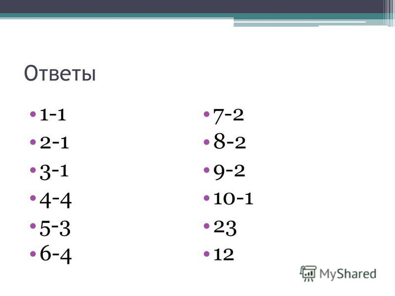 Ответы 1-1 2-1 3-1 4-4 5-3 6-4 7-2 8-2 9-2 10-1 23 12