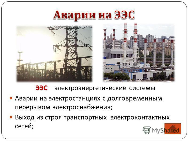 ЭЭС ЭЭС – электроэнергетические системы Аварии на электростанциях с долговременным перерывом электроснабжения; Выход из строя транспортных электроконтактных сетей;