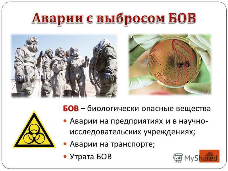 БОВ БОВ – биологически опасные вещества Аварии на предприятиях и в научно- исследовательских учреждениях; Аварии на транспорте; Утрата БОВ