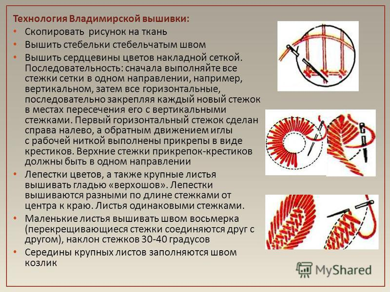 Технология Владимирской вышивки : Скопировать рисунок на ткань Вышить стебельки стебельчатым швом Вышить сердцевины цветов накладной сеткой. Последовательность : сначала выполняйте все стежки сетки в одном направлении, например, вертикальном, затем в