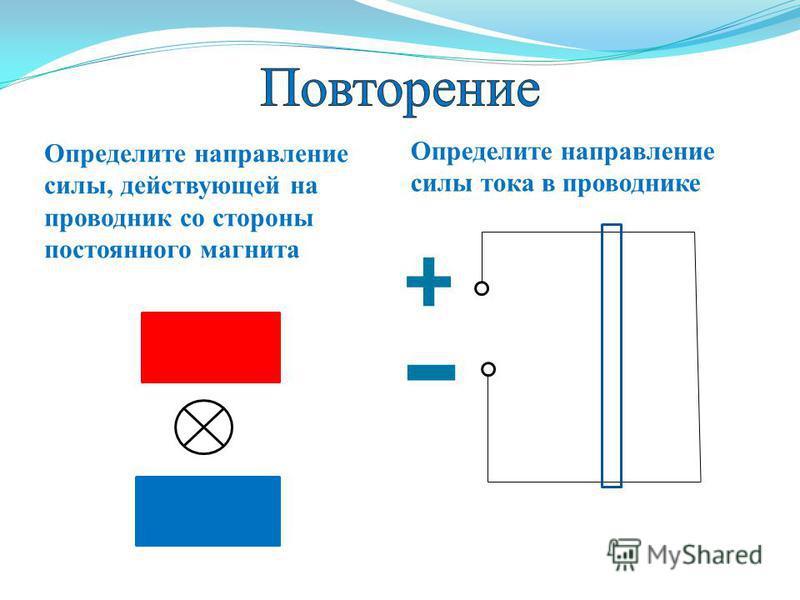Определите направление силы, действующей на проводник со стороны постоянного магнита Определите направление силы тока в проводнике