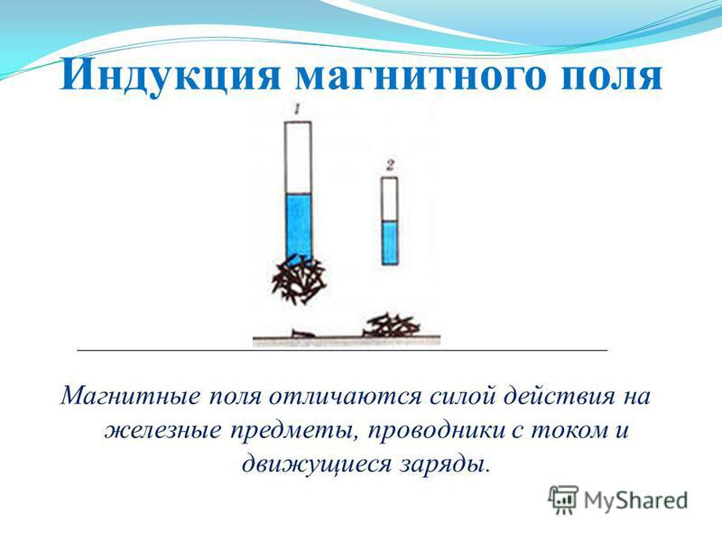 Индукция магнитного поля Магнитные поля отличаются силой действия на железные предметы, проводники с током и движущиеся заряды.