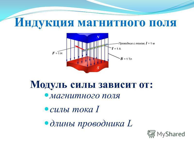 Индукция магнитного поля Модуль силы зависит от: магнитного поля силы тока I длины проводника L