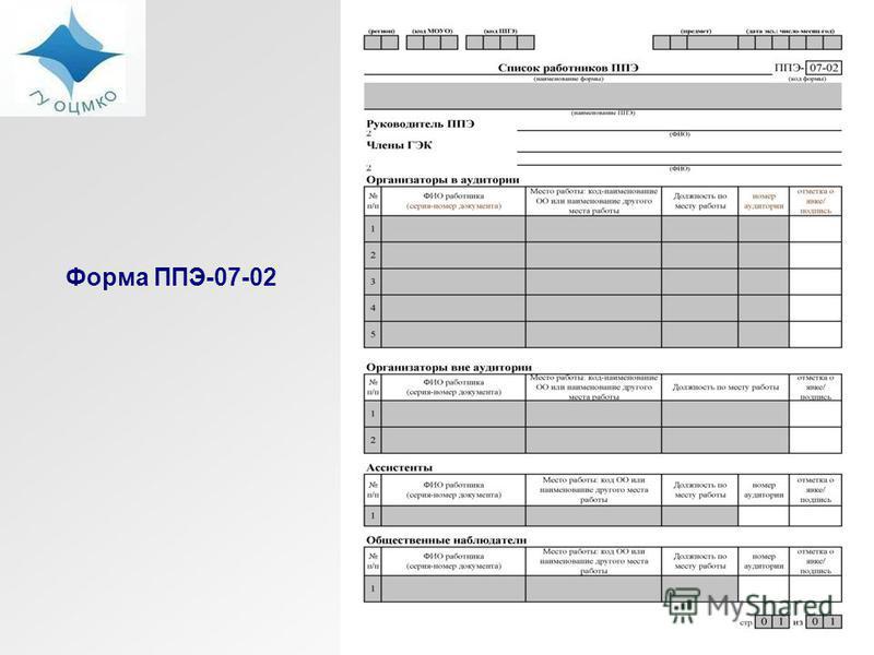 Форма ППЭ-07-02