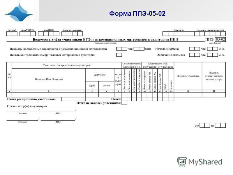Форма ППЭ-05-02
