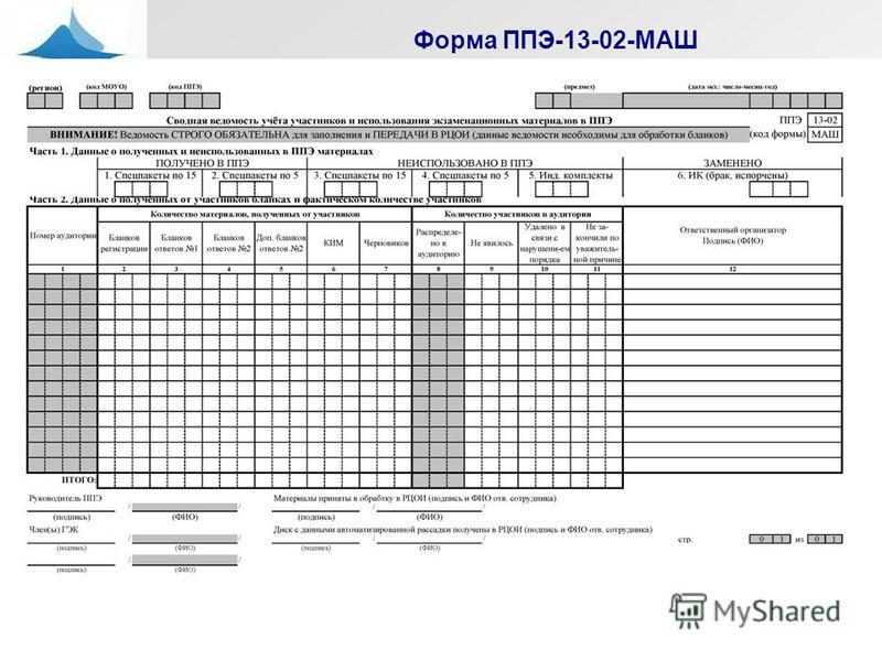 Форма ППЭ-13-02-МАШ