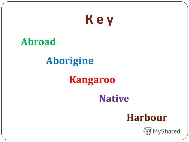 К е уК е у Abroad Aborigine Kangaroo Native Harbour