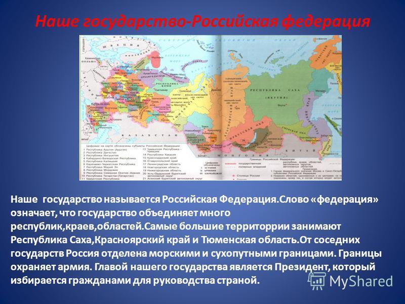 Наше государство-Российская федерация Наше государство называется Российская Федерация.Слово «федерация» означает, что государство объединяет много республик,краев,областей.Самые большие территории занимают Республика Саха,Красноярский край и Тюменск