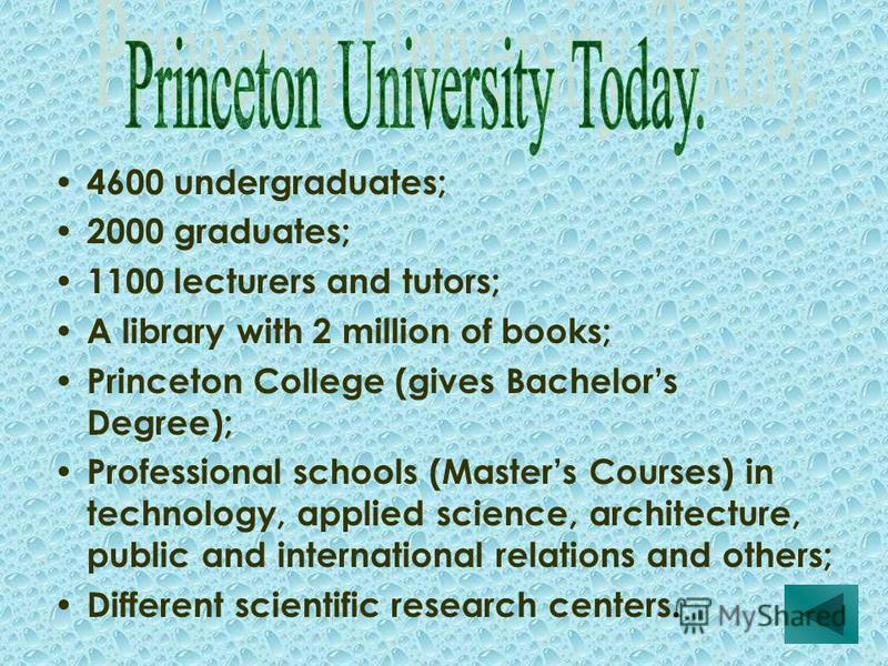 4600 undergraduates; 2000 graduates; 1100 lecturers and tutors; A library with 2 million of books; Princeton College (gives Bachelors Degree); Professional schools (Masters Courses) in technology, applied science, architecture, public and internation