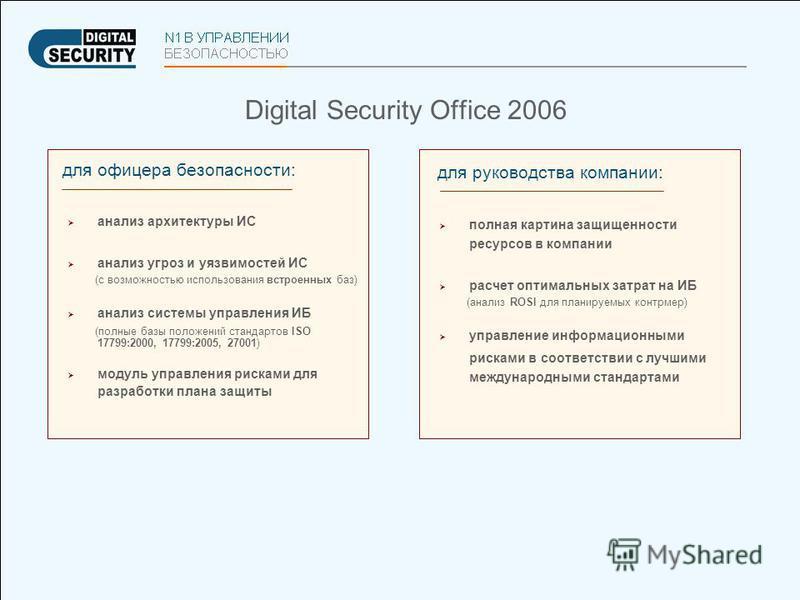 Digital Security Office 2006 для офицера безопасности: анализ архитектуры ИС анализ угроз и уязвимостей ИС (с возможностью использования встроенных баз) анализ системы управления ИБ (полные базы положений стандартов ISO 17799:2000, 17799:2005, 27001)
