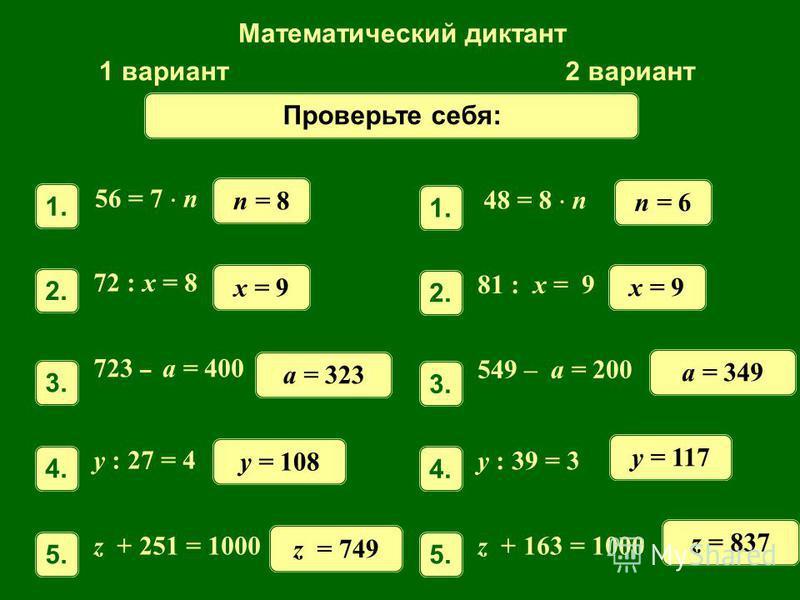 Математический диктант 1 вариант 2 вариант 56 = 7 n 1. n = 8 72 : x = 8 2.2. x = 9 723 – a = 400 3.3. a = 323 y : 27 = 4 4.4. y = 108 z + 251 = 1000 5.5. z = 749 n = 6 81 : x = 9 2.2. x = 9 549 – a = 200 3.3. a = 349 y : 39 = 3 4.4. y = 117 z + 163 =