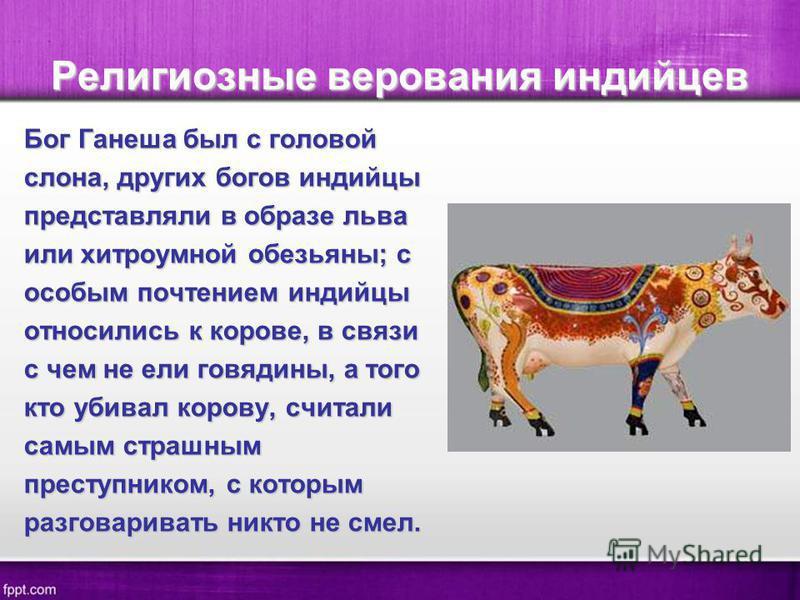 Религиозные верования индийцев Бог Ганеша был с головой слона, других богов индийцы представляли в образе льва или хитроумной обезьяны; с особым почтением индийцы относились к корове, в связи с чем не ели говядины, а того кто убивал корову, считали с