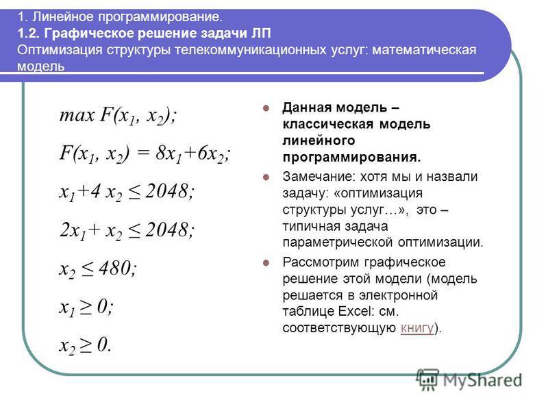 1. Линейное программирование. 1.2. Графическое решение задачи ЛП Оптимизация структуры телекоммуникационных услуг: математическая модель max F(x 1, x 2 ); F(x 1, x 2 ) = 8x 1 +6x 2 ; x 1 +4 x 2 2048; 2x 1 + x 2 2048; x 2 480; x 1 0; x 2 0. Данная мод