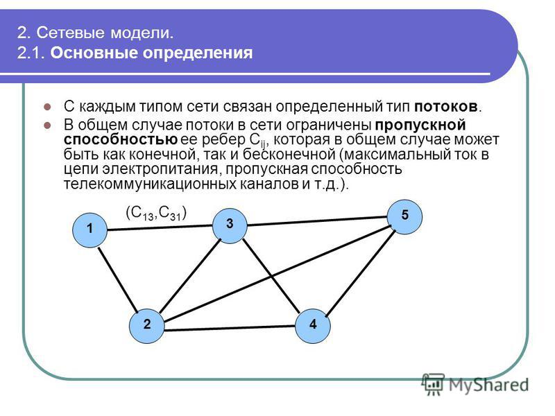 2. Сетевые модели. 2.1. Основные определения С каждым типом сети связан определенный тип потоков. В общем случае потоки в сети ограничены пропускной способностью ее ребер C ij, которая в общем случае может быть как конечной, так и бесконечной (максим