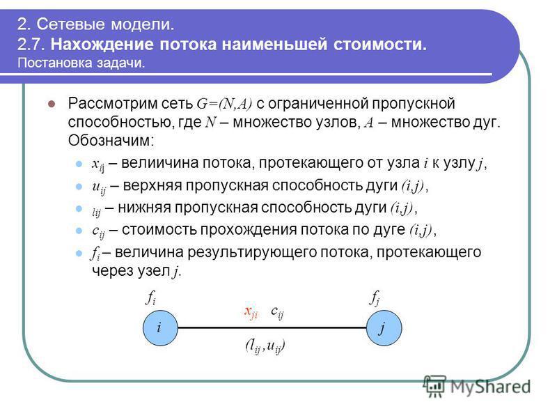 2. Сетевые модели. 2.7. Нахождение потока наименьшей стоимости. Постановка задачи. Рассмотрим сеть G=(N,A) с ограниченной пропускной способностью, где N – множество узлов, A – множество дуг. Обозначим: x i j – велиичина потока, протекающего от узла i