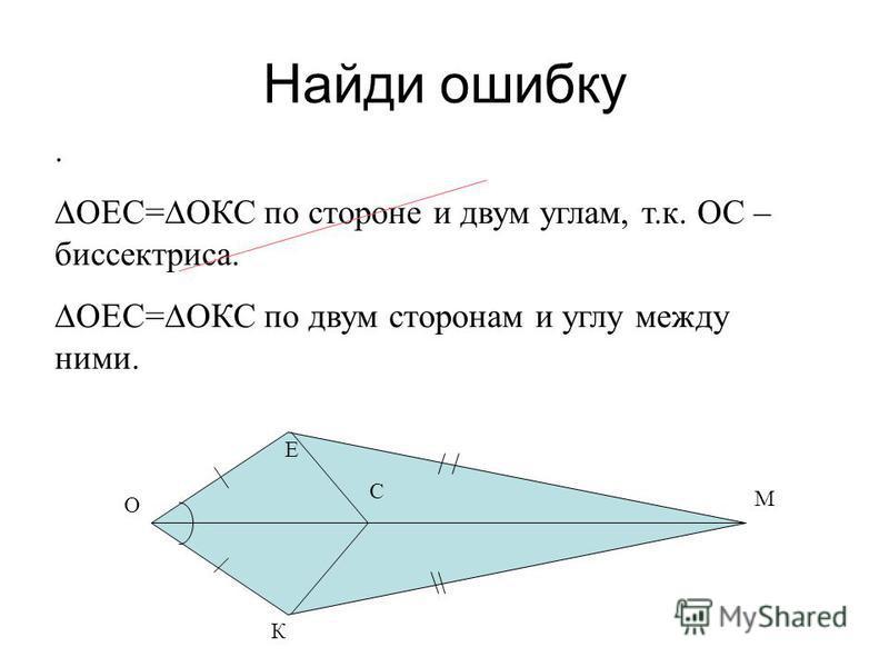 Найди ошибку М К О Е. ОЕС=ОКС по стороне и двум углам, т.к. ОС – биссектриса. ОЕС=ОКС по двум сторонам и углу между ними. С