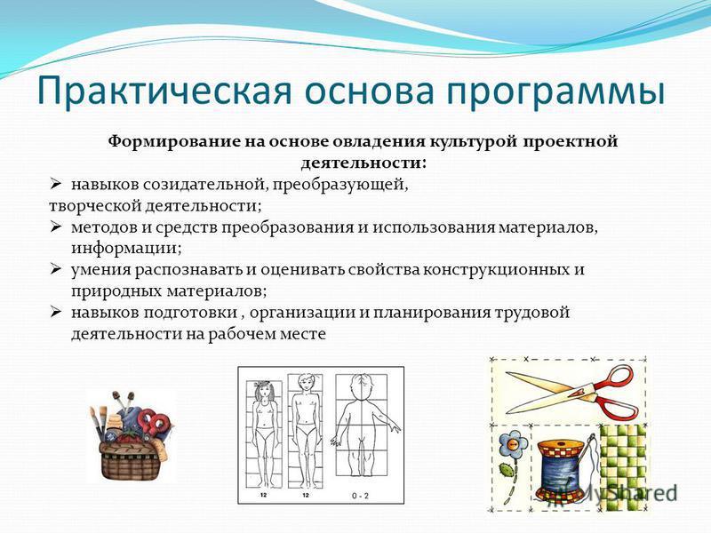 Практическая основа программы Формирование на основе овладения культурой проектной деятельности: навыков созидательной, преобразующей, творческой деятельности; методов и средств преобразования и использования материалов, информации; умения распознава