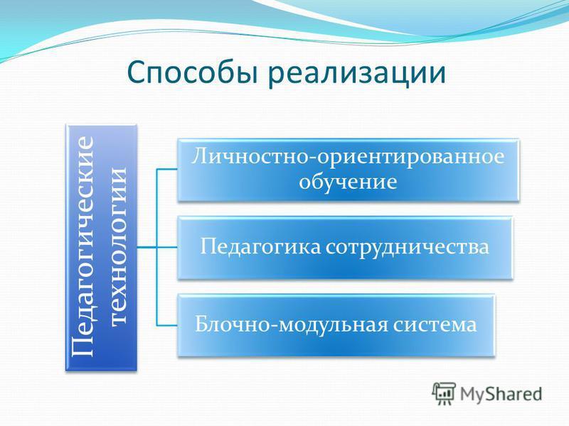 Способы реализации Педагогические технологии Личностно-ориентированное обучение Педагогика сотрудничества Блочно-модульная система