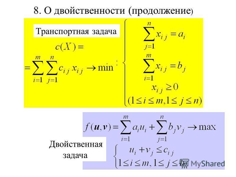 Транспортная задача Двойственная задача 8. О двойственности (продолжение )