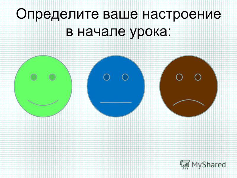 Определите ваше настроение в начале урока: