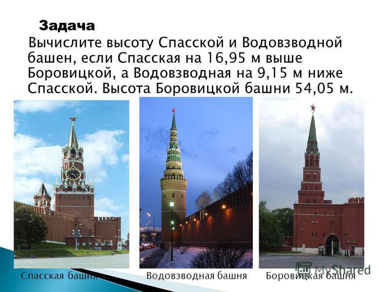 Задача Вычислите высоту Спасской и Водовзводной башен, если Спасская на 16,95 м выше Боровицкой, а Водовзводная на 9,15 м ниже Спасской. Высота Боровицкой башни 54,05 м. Спасская башня Водовзводная башня Боровицкая башня