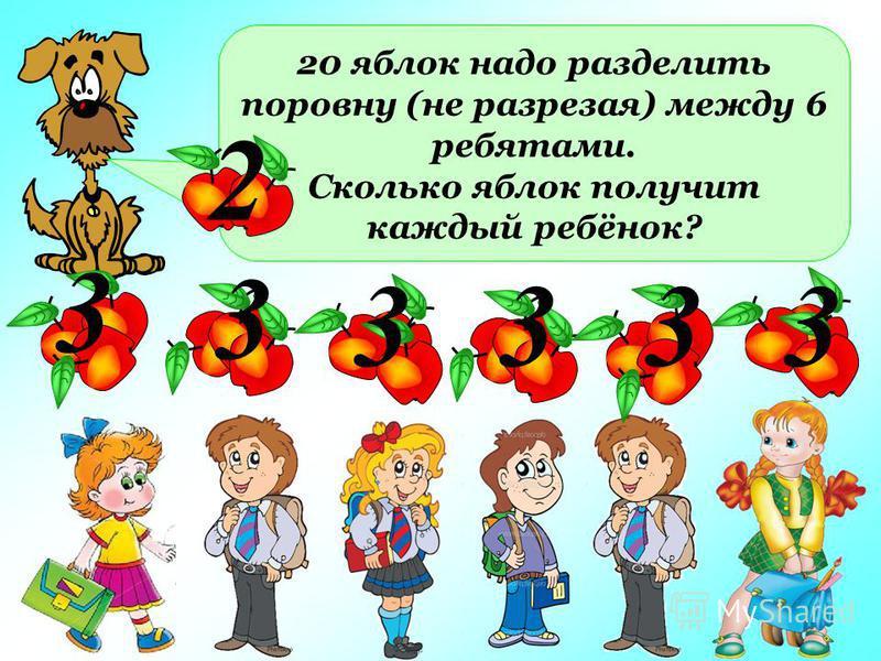 20 яблок надо разделить поровну (не разрезая) между 6 ребятами. Сколько яблок получит каждый ребёнок? 3 3 3333 2