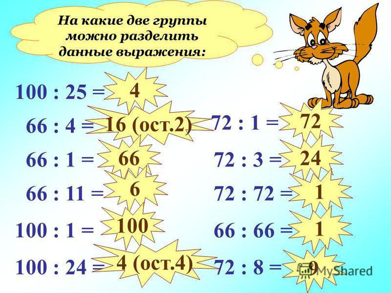 На какие две группы можно разделить данные выражения: 100 : 25 = 66 : 4 = 66 : 1 = 66 : 11 = 100 : 1 = 100 : 24 = 72 : 1 = 72 : 3 = 72 : 72 = 66 : 66 = 72 : 8 = 4 16 (ост.2) 66 6 100 4 (ост.4) 72 24 1 1 9