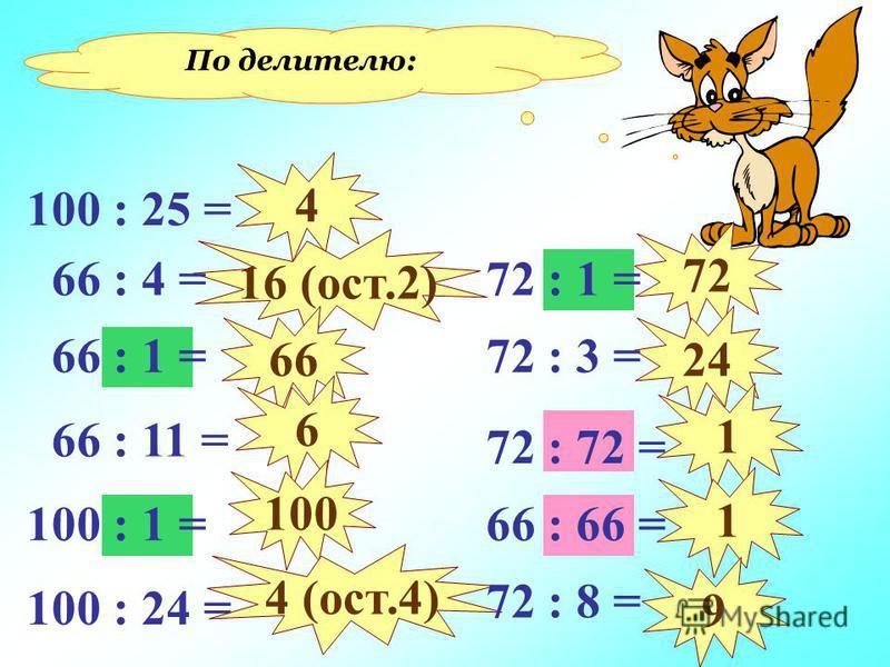 По делителю: 4 16 (ост.2) 66 6 100 4 (ост.4) 72 24 1 1 9 100 : 25 = 100 : 1 = 100 : 24 = 66 : 11 = 66 : 1 = 66 : 4 = 66 : 66 = 72 : 1 = 72 : 3 = 72 : 72 = 72 : 8 =