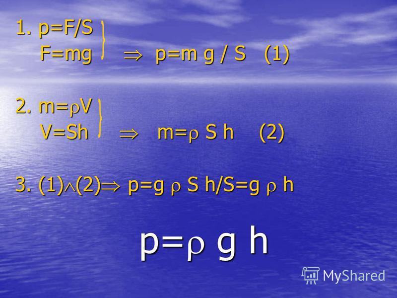 1. p=F/S F=mg p=m g / S (1) F=mg p=m g / S (1) 2. m= V V=Sh m= S h (2) V=Sh m= S h (2) 3. (1) (2) p=g S h/S=g h p= g h p= g h