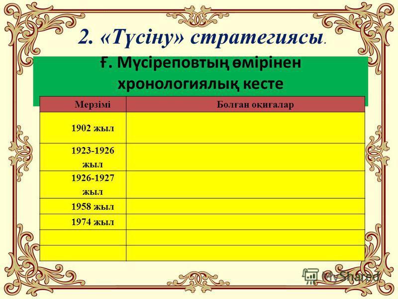 Ғ. Мүсіреповтың өмірінен хронологиялық кесте 2. «Түсіну» стратегиясы. МерзіміБолған оқиғалар 1902 жыл 1923-1926 жыл 1926-1927 жыл 1958 жыл 1974 жыл