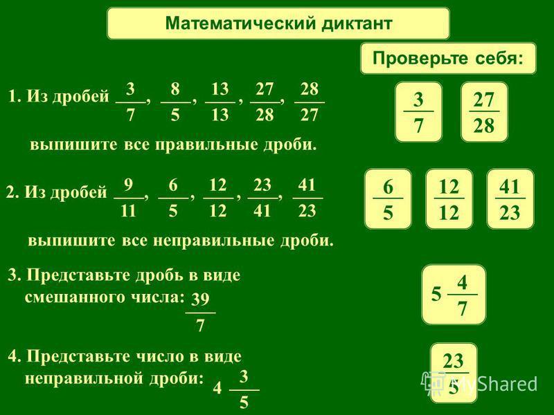Математический диктант Проверьте себя: 1. Из дробей,,,, выпишите все правильные дроби. 3 7 8 5 13 27 28 27 3 7 28 2. Из дробей,,,, выпишите все неправильные дроби. 9 11 6 5 12 23 41 23 6 5 12 41 23 3. Представьте дробь в виде смешанного числа: 39 7 4