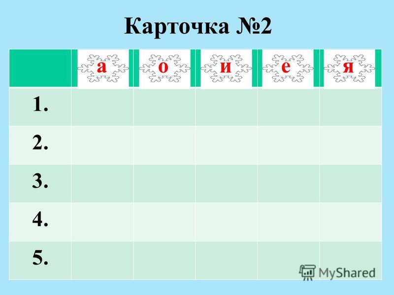 Карточка 2 а 1. 2. 3. 4. 5. а аоиея