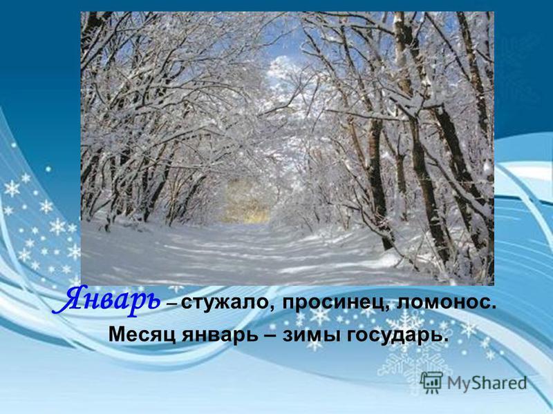 Январь – стукало, просинец, ломонос. Месяц январь – зимы государь.