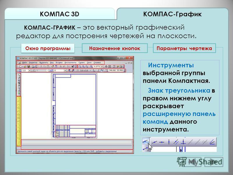 КОМПАС 3D КОМПАС-График КОМПАС-ГРАФИК – это векторный графический редактор для построения чертежей на плоскости. Окно программы Назначение кнопок Инструменты выбранной группы панели Компактная. Знак треугольника в правом нижнем углу раскрывает расшир