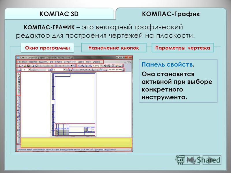 КОМПАС 3D КОМПАС-График КОМПАС-ГРАФИК – это векторный графический редактор для построения чертежей на плоскости. Окно программы Назначение кнопок Панель свойств. Она становится активной при выборе конкретного инструмента. Параметры чертежа