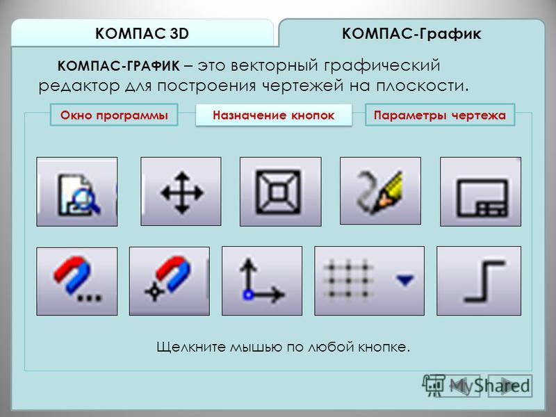 КОМПАС 3D КОМПАС-График КОМПАС-ГРАФИК – это векторный графический редактор для построения чертежей на плоскости. Окно программы Назначение кнопок Щелкните мышью по любой кнопке. Параметры чертежа