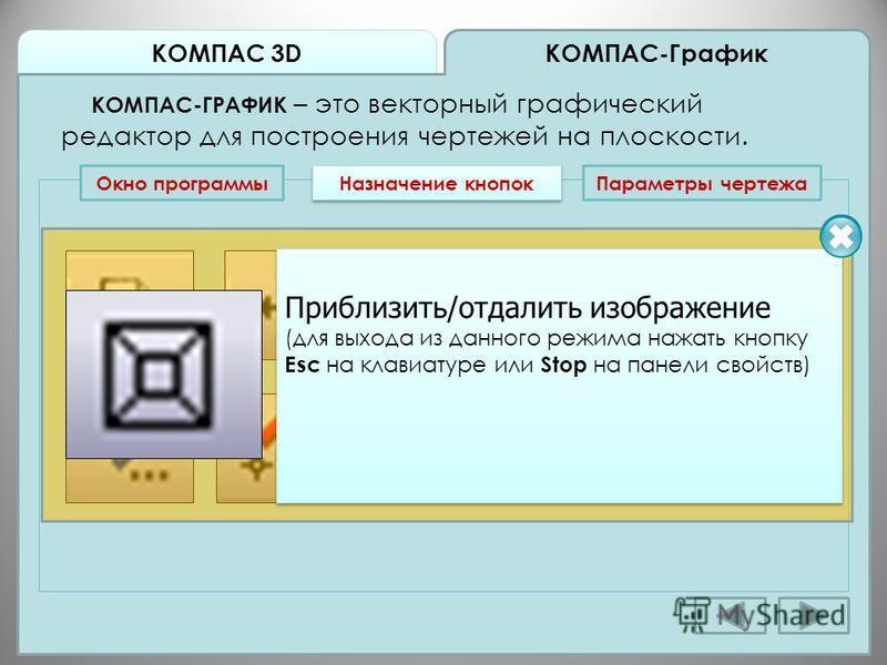 КОМПАС 3D КОМПАС-График КОМПАС-ГРАФИК – это векторный графический редактор для построения чертежей на плоскости. Окно программы Назначение кнопок Приблизить/отдалить изображение (для выхода из данного режима нажать кнопку Esc на клавиатуре или Stop н