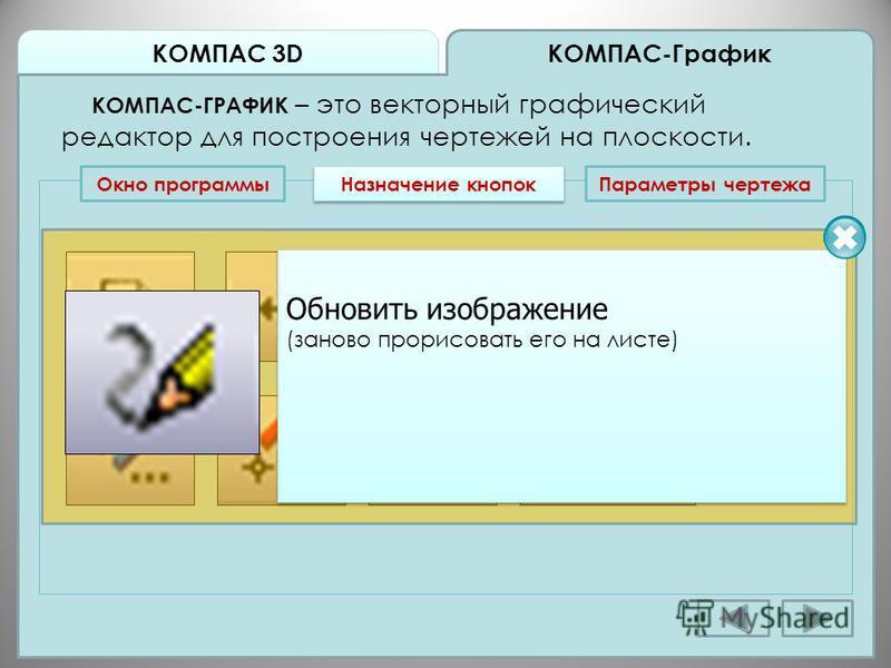 КОМПАС 3D КОМПАС-График КОМПАС-ГРАФИК – это векторный графический редактор для построения чертежей на плоскости. Окно программы Назначение кнопок Обновить изображение (заново прорисовать его на листе) Обновить изображение (заново прорисовать его на л